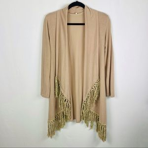 Fringed Open Front Waterfall Cardigan Knit
